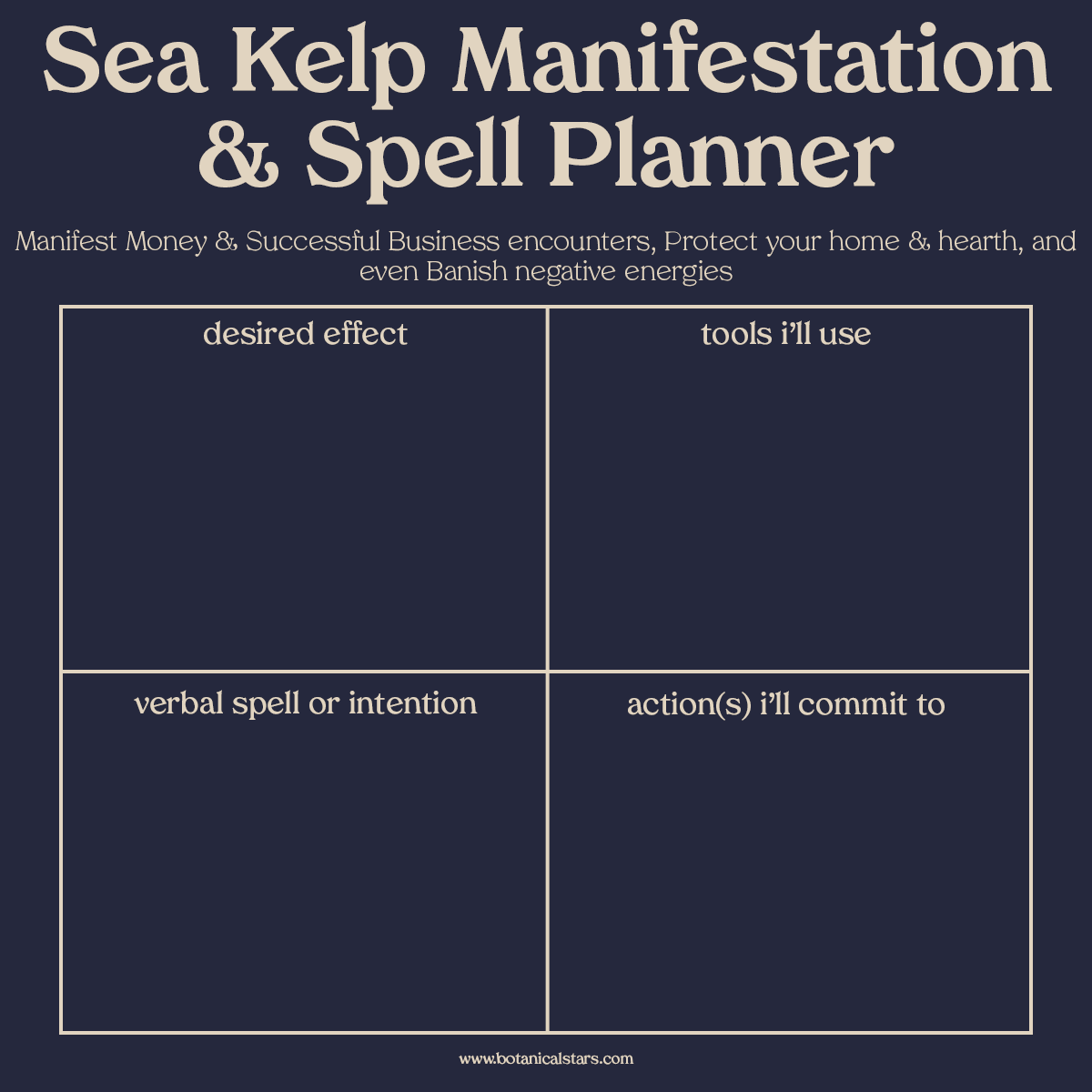 spell planner guide for manifesting and spell casting with sea kelp or bladderwack