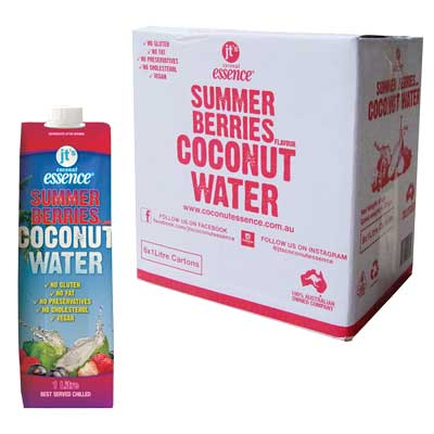 Summer Berries Coconut Water 6 One Litre Tetra Packs Free Shipping