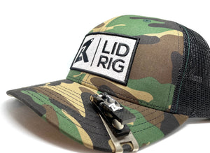 Camo Green Lid: Adjustable Snapback Lid Rig Logo Hats