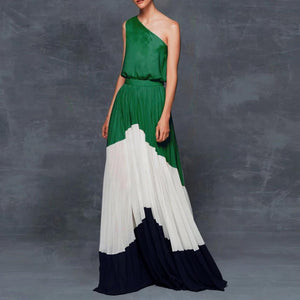 Clamez New Color Block One Shoulder Maxi Dress