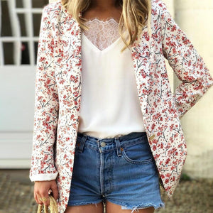 Clamez Ditsy Floral Lapel Long Sleeve Blazer