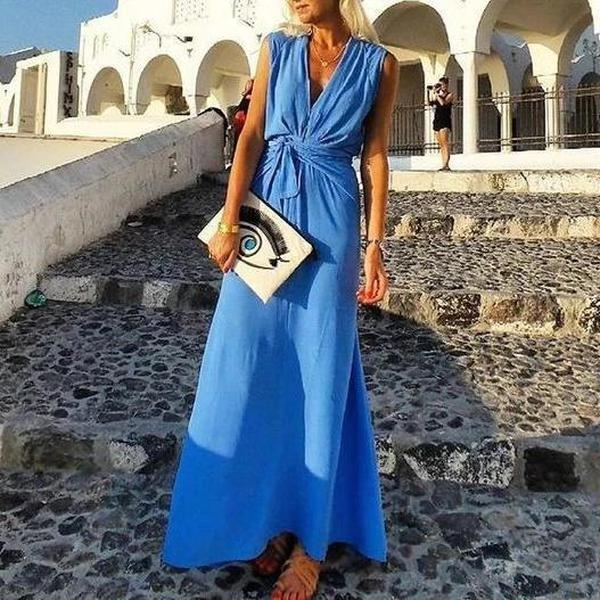 Clamez Temperament Blue V-Neck Sleeveless Slim Fit Vacation Dress