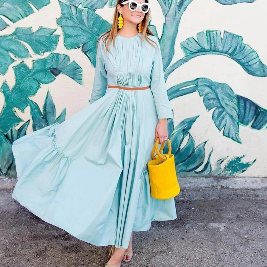Clamez Beautiful Blue Round Neck Long Sleeve Big Swing Dress