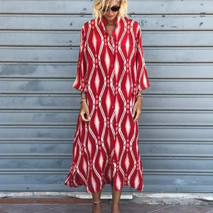 Clamez Street Style Print Long Sleeve Midi Dress