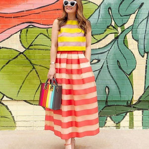 Clamez Sweet Cute Striped Two-Piece Dress