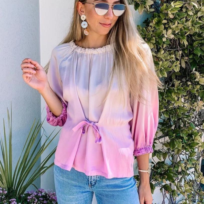 Clamez Stylish Tie Dye Round Neck Blouse