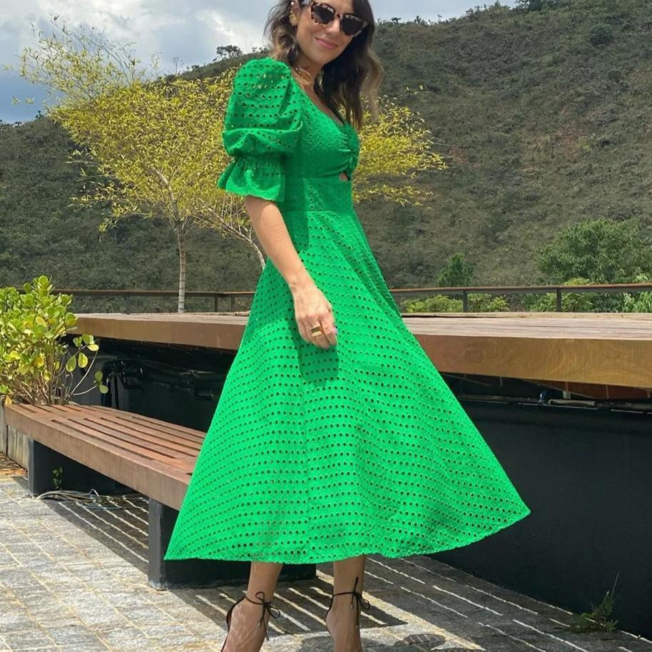 Clamez Green Square Neck Puff Sleeve Midi Dress
