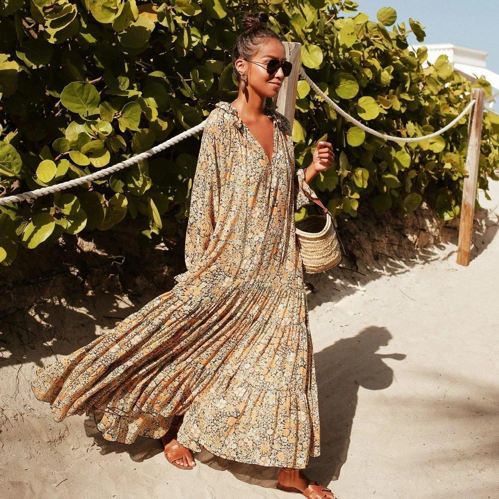 Clamez Toes in the Sand Floral Print Maxi Dress