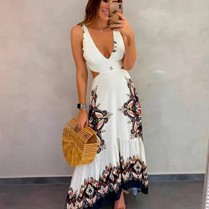 Clamez Sexy Deep V-Neck Sleeveless Printed Hollow Out Slim Fit Maxi Dress