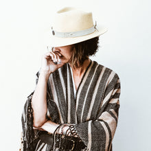 Load image into Gallery viewer, Noe Poncho | Black / Camel Stripe | Llama - Siembra Heritage
