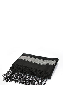 El Pidio Wrap | Black w/ Cream Stripe | Sheep - Siembra Heritage