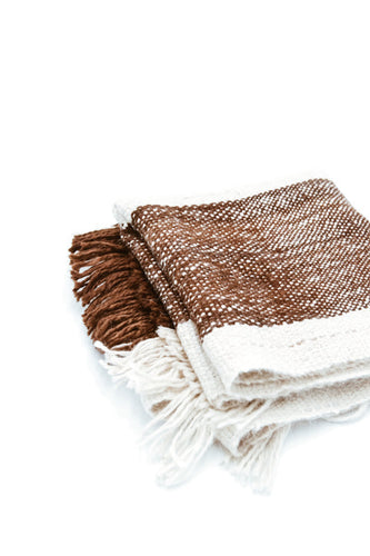 Manos Andinas Wrap | Cream / Brown Stripes | Llama - Siembra Heritage