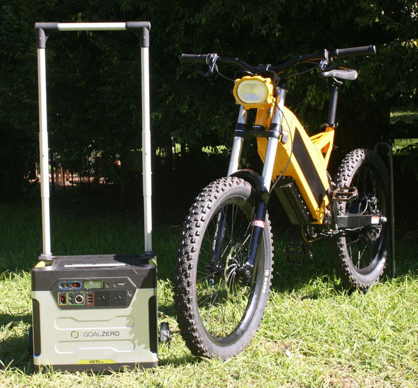 Yeti powering an electric bike with sunshine