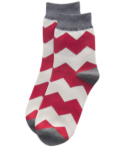 colourful zigzag red socks