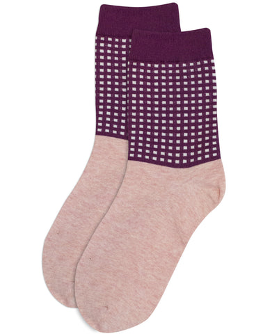 Grid Maroon Socks