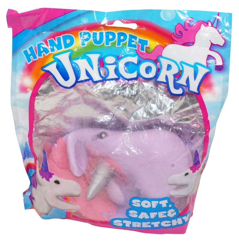 UNICORN HORSE HAND PUPPET - TOY FIGURE PURPLE W/ PINK MANE VINYL NEW