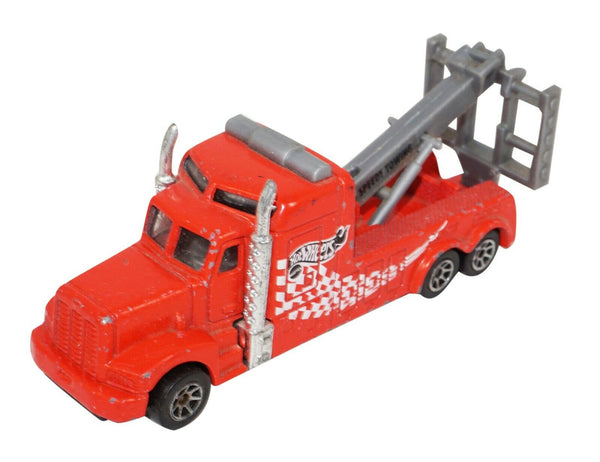 SPEEDY TOW TRUCK HOT WHEELS 1:64 RED W/ GREY LIFT TOY DIECAST VEHICLE USED 1996 - EZ Monster Deals