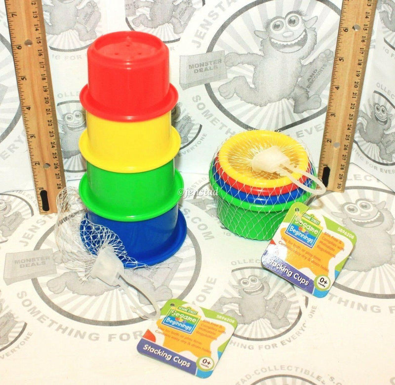 4 LOT - BABY TOYS SASSY PLUSH RATTLE SESAME STREET STACKING CUP GAME FOOD MAT - EZ Monster Deals