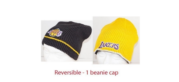 LA LOS ANGELES LAKERS NBA BASKETBALL - BLACK + YELLOW REVERSIBLE BEANIE CAP HAT
