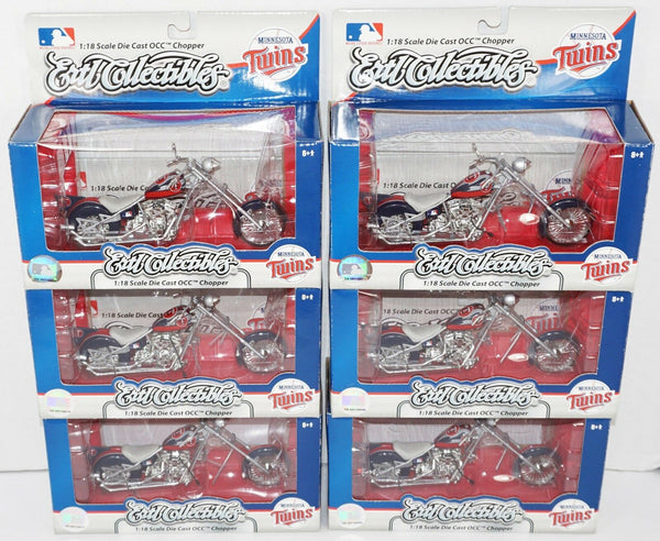 6 PC LOT - MINNESOTA TWINS BASEBALL DIECAST CYCLE MLB 1:18 TOY OCC CHOPPER 2007