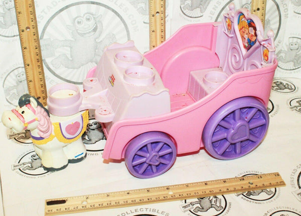 FISHER-PRICE LITTLE PEOPLE BUILDERS - BUILD 'N DRIVE PINK CARRIAGE + HORSE 2007 - EZ Monster Deals
