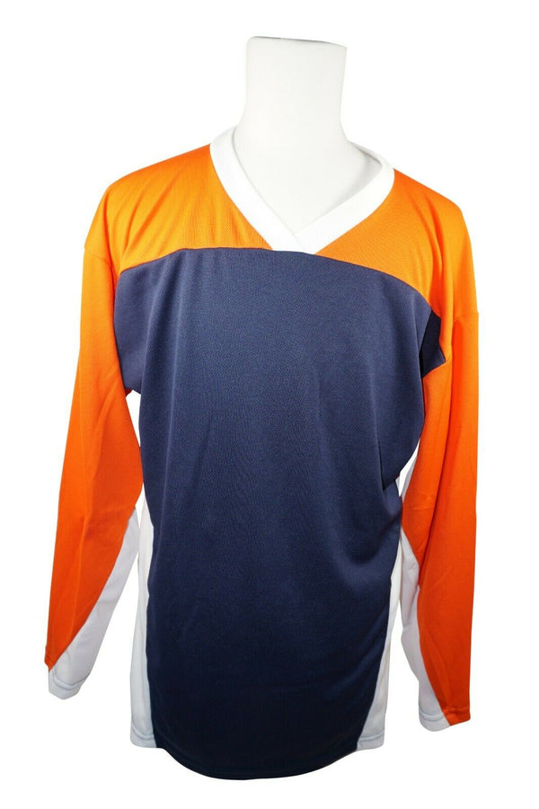 XTREME BASICS SR S HOCKEY BLUE ORANGE JERSEY - ADULT SMALL ICE OR ROLLER USED - EZ Monster Deals