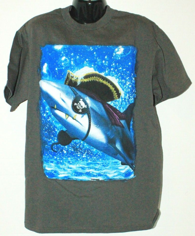PIRATE SHARK - KIDS TSHIRT APPAREL GREY GRAY SHIRT YOUTH SIZE MEDIUM NEW - EZ Monster Deals