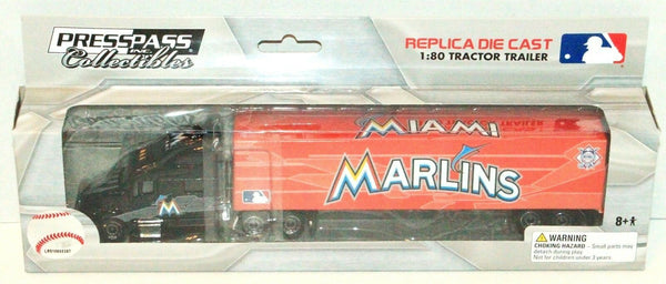 MIAMI MARLINS MLB BASEBALL 1:80 DIECAST SEMI TRUCK TRAILER TOY VEHICLE 2012 NEW - EZ Monster Deals