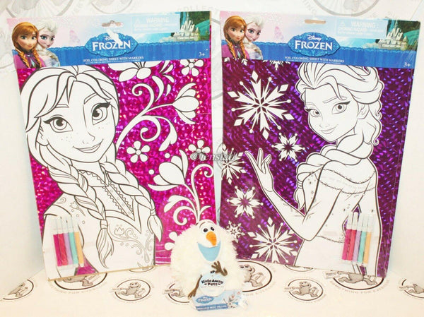 3 LOT - DISNEY FROZEN OLAF HIDEAWAY PET PLUSH TOY & ANNA ELSA COLOR FOIL SHEETS - EZ Monster Deals