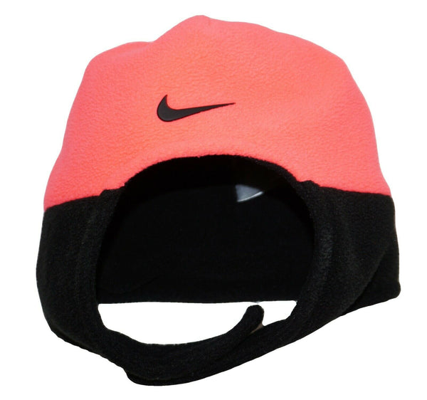 Nike Infant Baby Cap - Chin Strap Trapper Pink Black Fleece Swoosh Hat