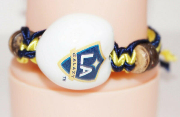 LOS ANGELES LA GALAXY MLS SINGLE WHITE KUKUI NUT + BRAID BRACELET SOCCER FUTBOL - EZ Monster Deals