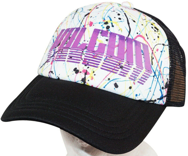VOLCOM ADULT ONE SIZE ADULT - SKATEBOARD WHT/BLK SPLATTER PAINT THEME HAT NEW