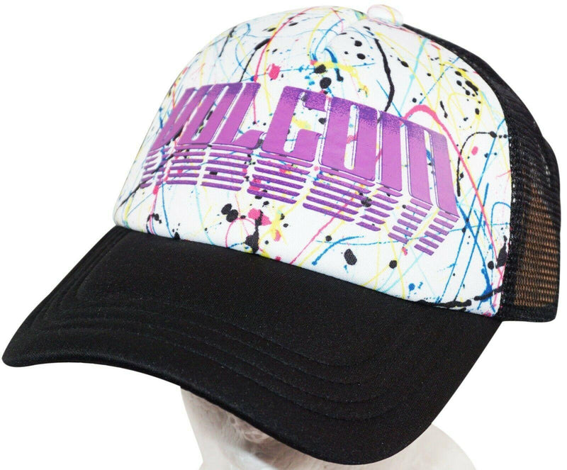 VOLCOM ADULT ONE SIZE ADULT - SKATEBOARD WHT/BLK SPLATTER PAINT THEME HAT NEW - EZ Monster Deals