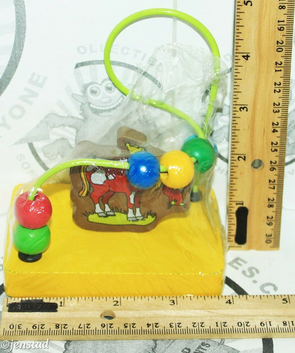 "WIRE HORSE MAZE GAME COLORFUL WOODEN CHILDREN EDUCATIONAL 4.5"" PORTABLE TOY NEW - EZ Monster Deals"