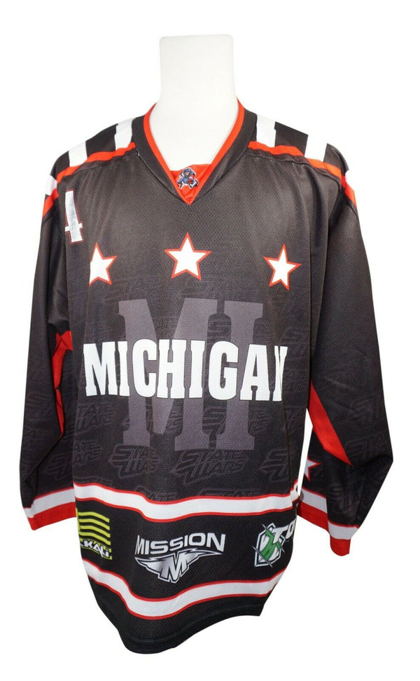 MICHIGAN ROLLER HOCKEY STATE WARS SR S BLACK JERSEY #4 SIGNED - ADULT SMALL 2015 - EZ Monster Deals