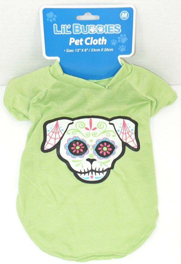 PUPPY SKULL GREEN SHIRT MEDIUM DOGS - DÍA DE LOS MUERTOS STYLE DAY OF THE DEAD-EZ Monster Deals