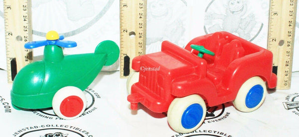 "2 LOT VIKING TOYS - LITTLE CHUBBIES JEEP CAR + HELICOPTER 2.75"" TOY VEHICLE USED - EZ Monster Deals"