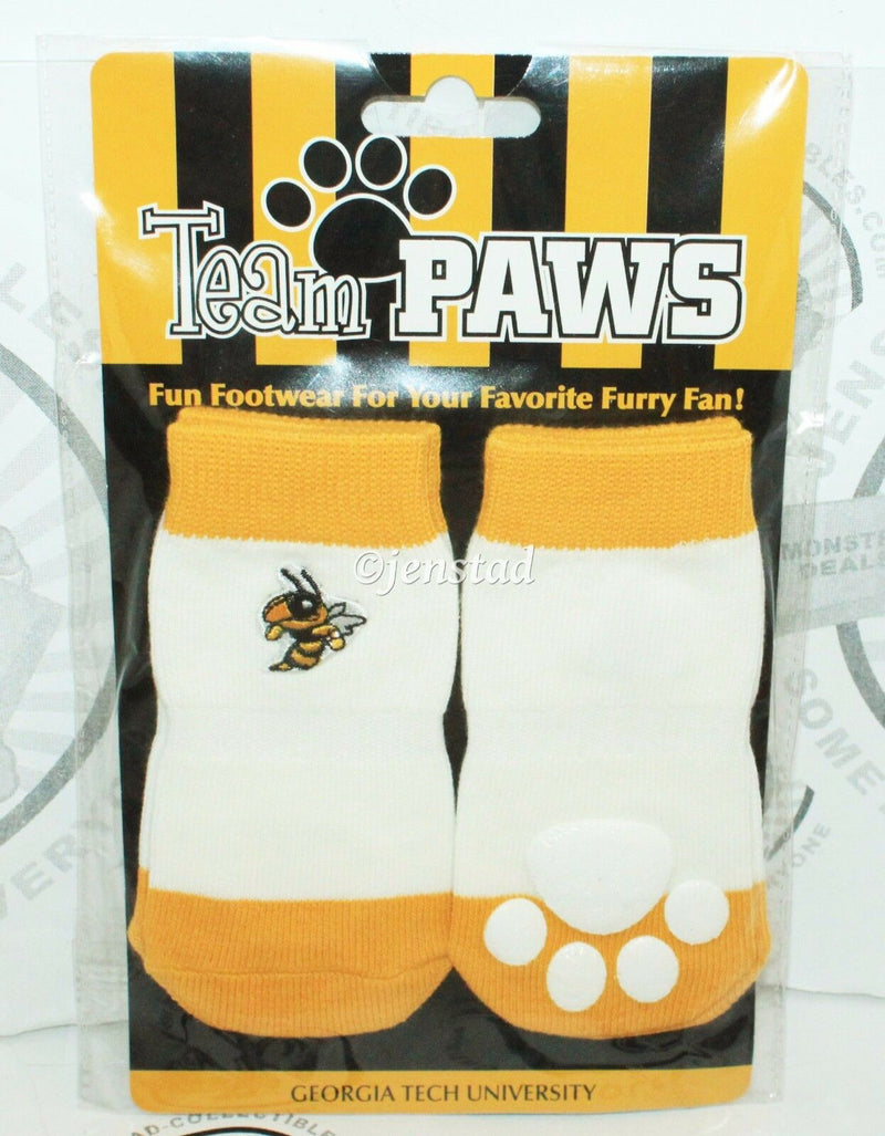 ONE PACK OF 4 DOG SOCKS & SQUEAK TOY - TEAM PAWS GEORGIA TECH UNIVERSITY LARGE-EZ Monster Deals