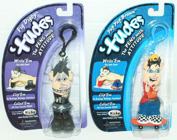 2 LOT KOOKY TUDES FIGURE PENS W/ ATTITUDE YUP YUP BROWN SKATEBOARD FIG DIGBY - EZ Monster Deals