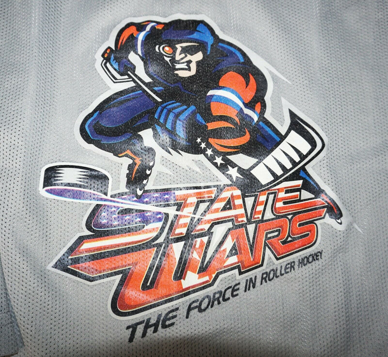 ROLLER HOCKEY STATE WARS YTH L/XL GREY HOCKEY JERSEY YOUTH LARGE XLARGE USED