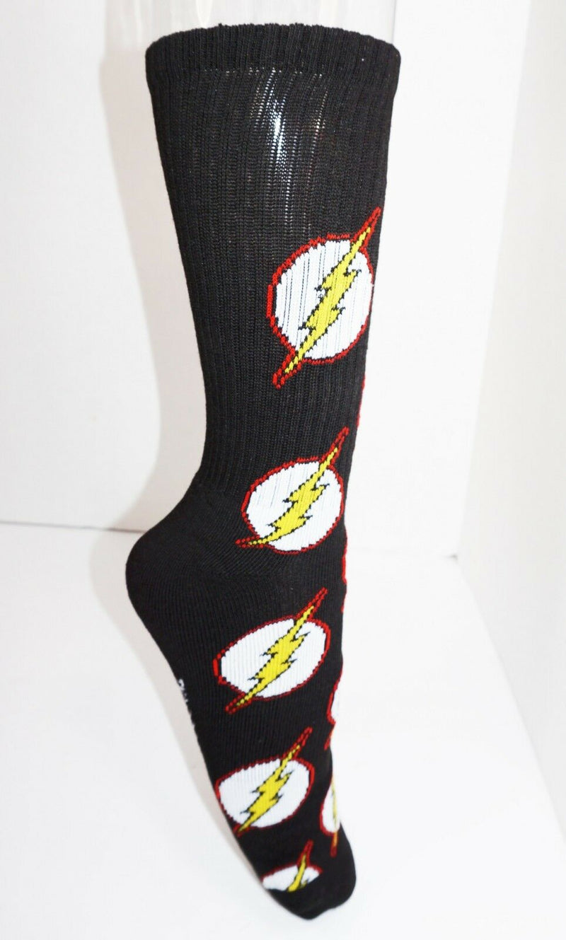 THE FLASH MULTI LOGO CREW SOCKS HYP DC COMICS 2016 ADULT SHOE SIZE 6-12 STYLE