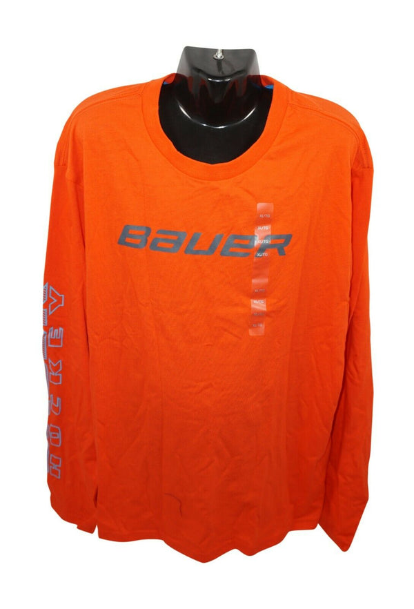 BAUER HOCKEY LOGO'D BASIC TEE - ORANGE XL LONG SLEEVE SHIRT YOUTH KID XLARGE NEW - EZ Monster Deals