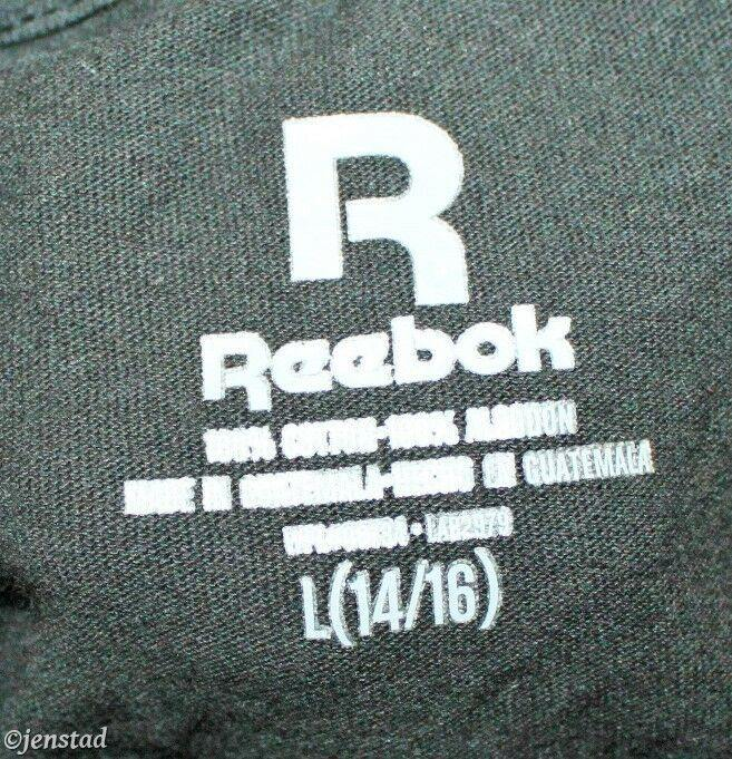 REEBOK GIRL OR SMALL ADULT BLACK TOP T-SHIRT JUNIOR LARGE 14/16 GRAPHIC TEE NEW - EZ Monster Deals