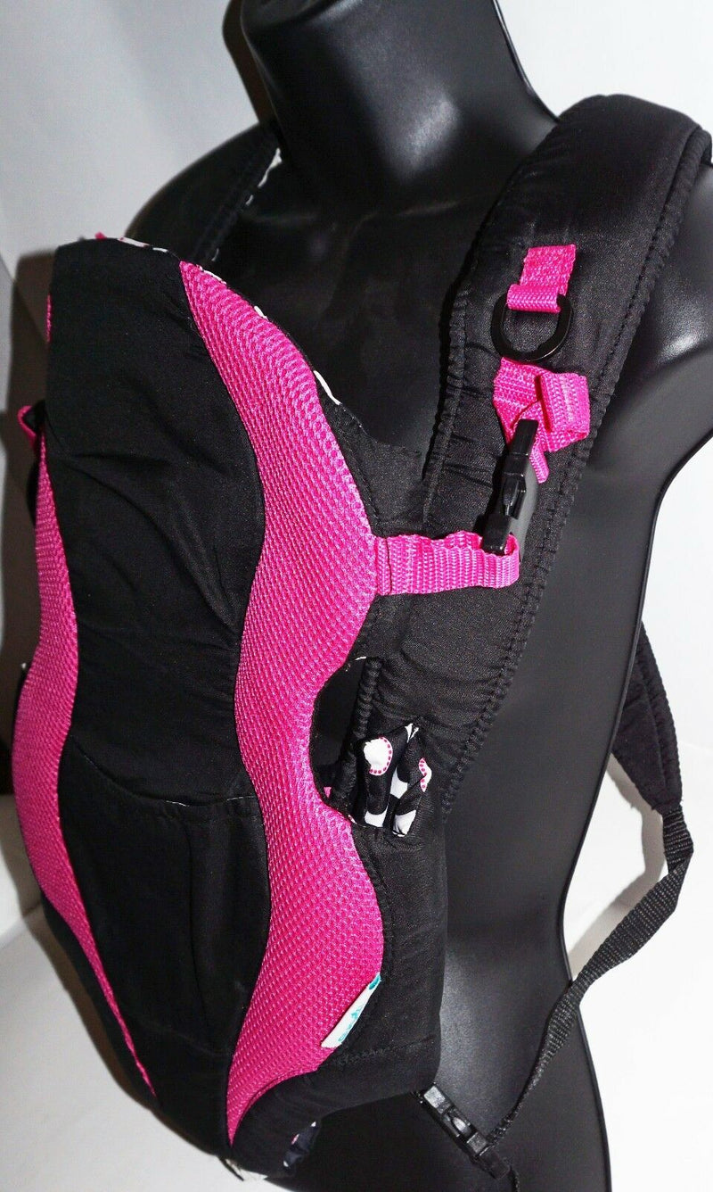EVENFLO BREATHE SOFT PADDED BABY CARRIER - MARIANNA BLACK/PINK USED-EZ Monster Deals