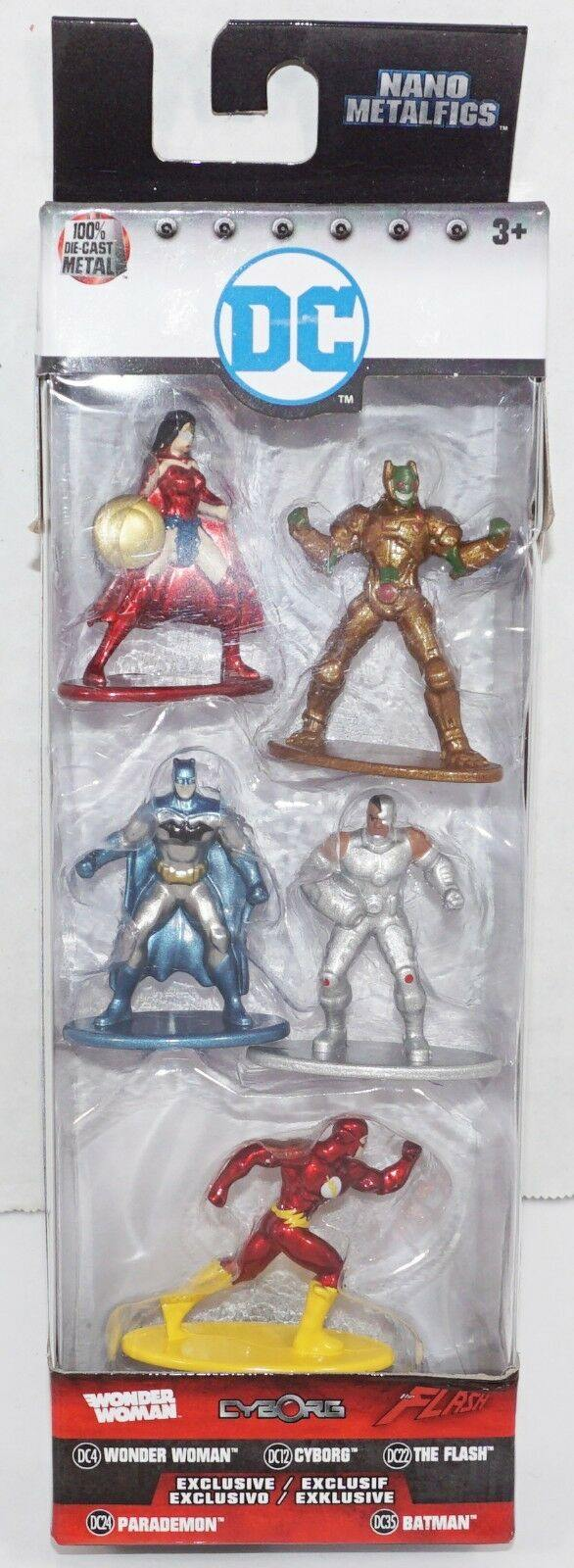 "DC COMICS 5 FIGURE PACK #A - NANO METALFIGS 1.65"" MINI DIECAST TOY FIGURINE 2017 - EZ Monster Deals"