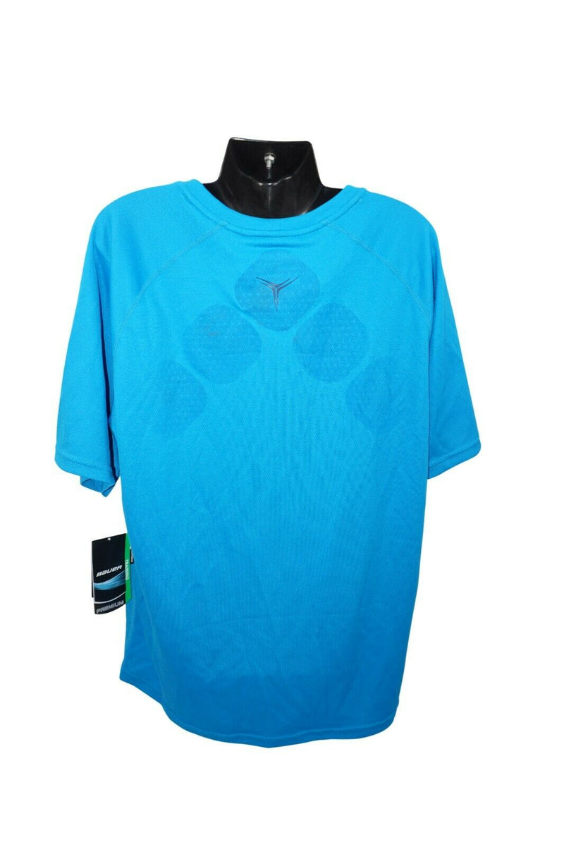 BAUER HOCKEY LOGO'D TRAINING 37.5 PREMIUM TEE - BLUE L SHIRT YOUTH KID LARGE NEW - EZ Monster Deals