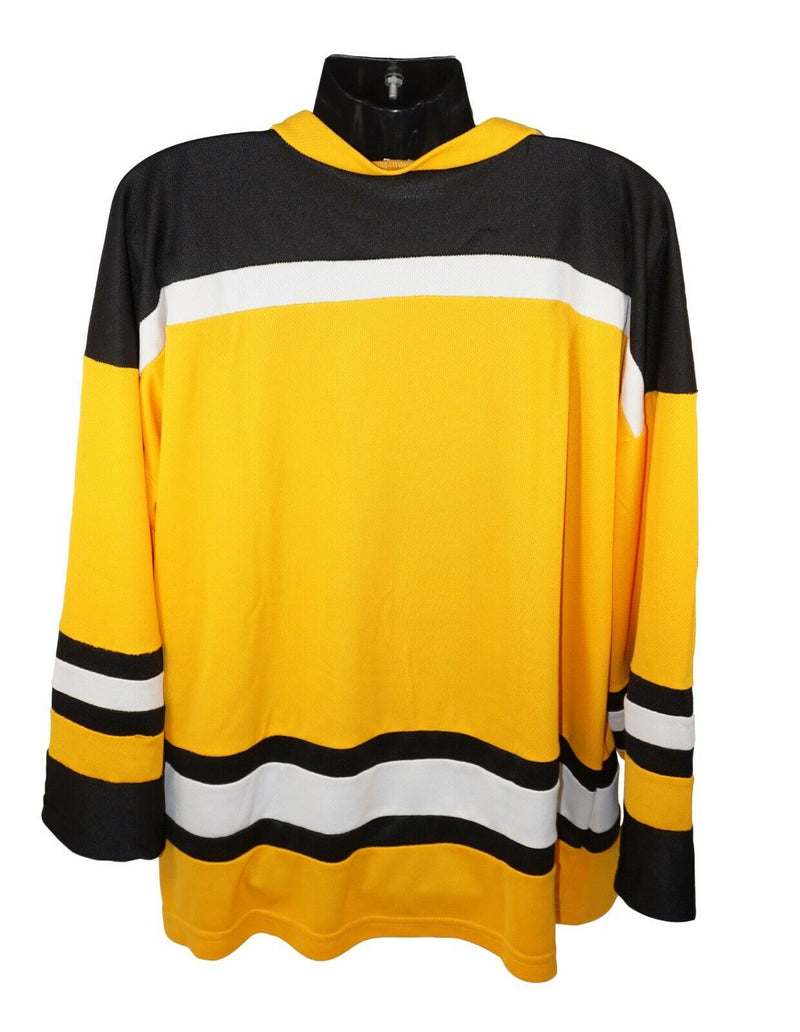 XTREME BASICS YTH L/XL YELLOW BLK WHT HOCKEY JERSEY - YOUTH LARGE XLARGE USED
