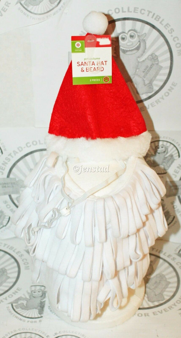 DOG XS/S SANTA RED HAT WHITE BEARD PET HOLIDAY CASUAL COSTUME CLOTHING XS/SMALL - EZ Monster Deals