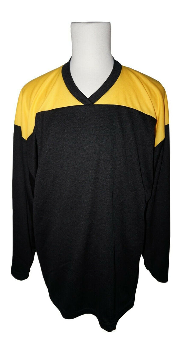 XTREME BASICS SR M HOCKEY BLACK YELLOW JERSEY - ADULT MEDIUM ICE OR ROLLER USED - EZ Monster Deals