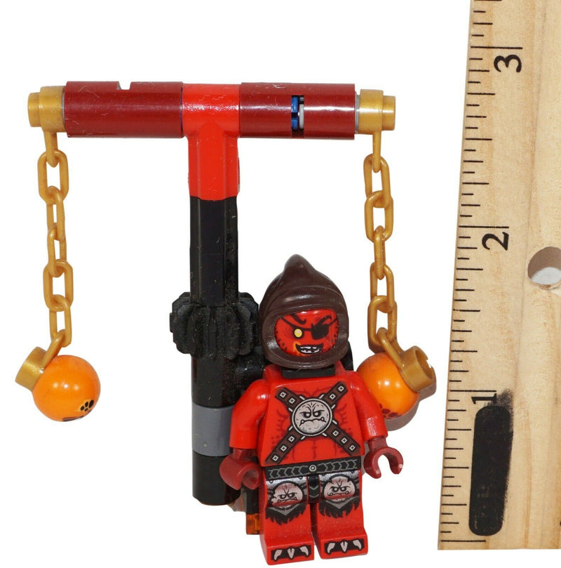 "NINJAGO LEGO VILLAIN WITH BALL + CHAIN TOOL - 1.75"" TOY ACTION FIGURE USED - EZ Monster Deals"